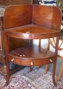 Early 19th century mahogany corner wash stand, fitted with three drawers, width approx 67cm max