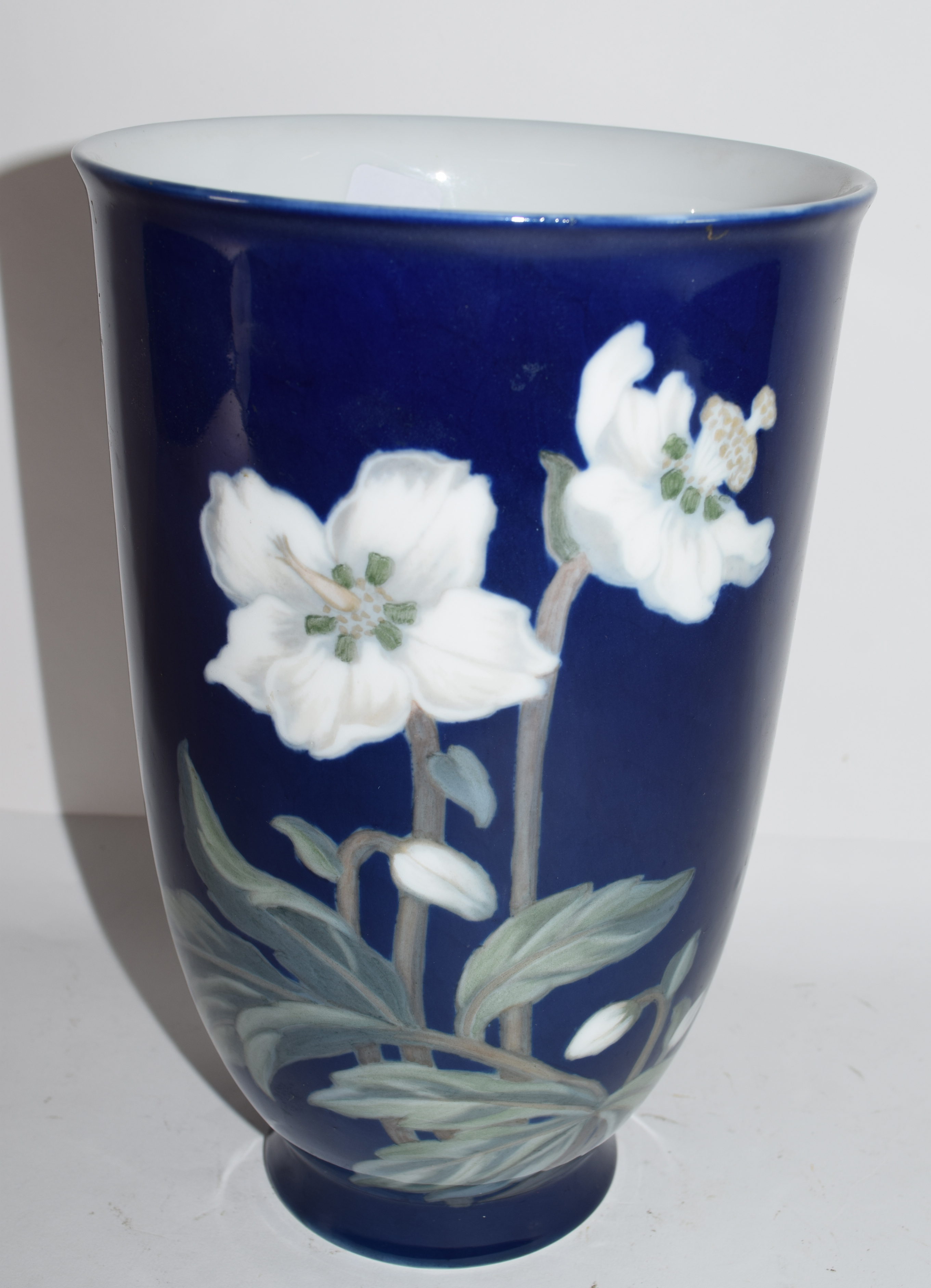 Royal Copenhagen vase, the blue ground with a floral design, factory mark and CFX monogram to