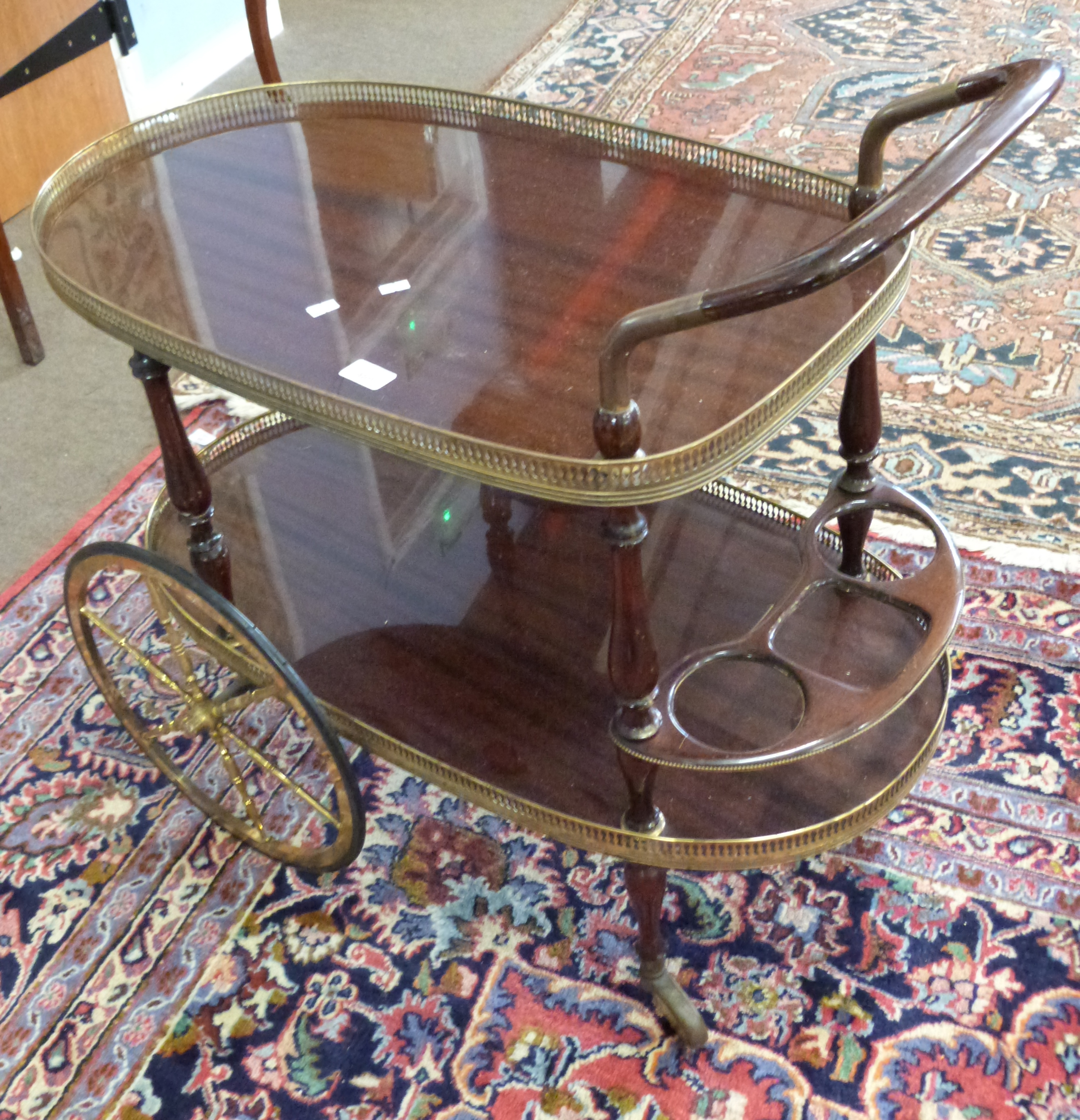 Mahogany effect and gilt decorative tea trolley, length approx 80cm - Image 3 of 3