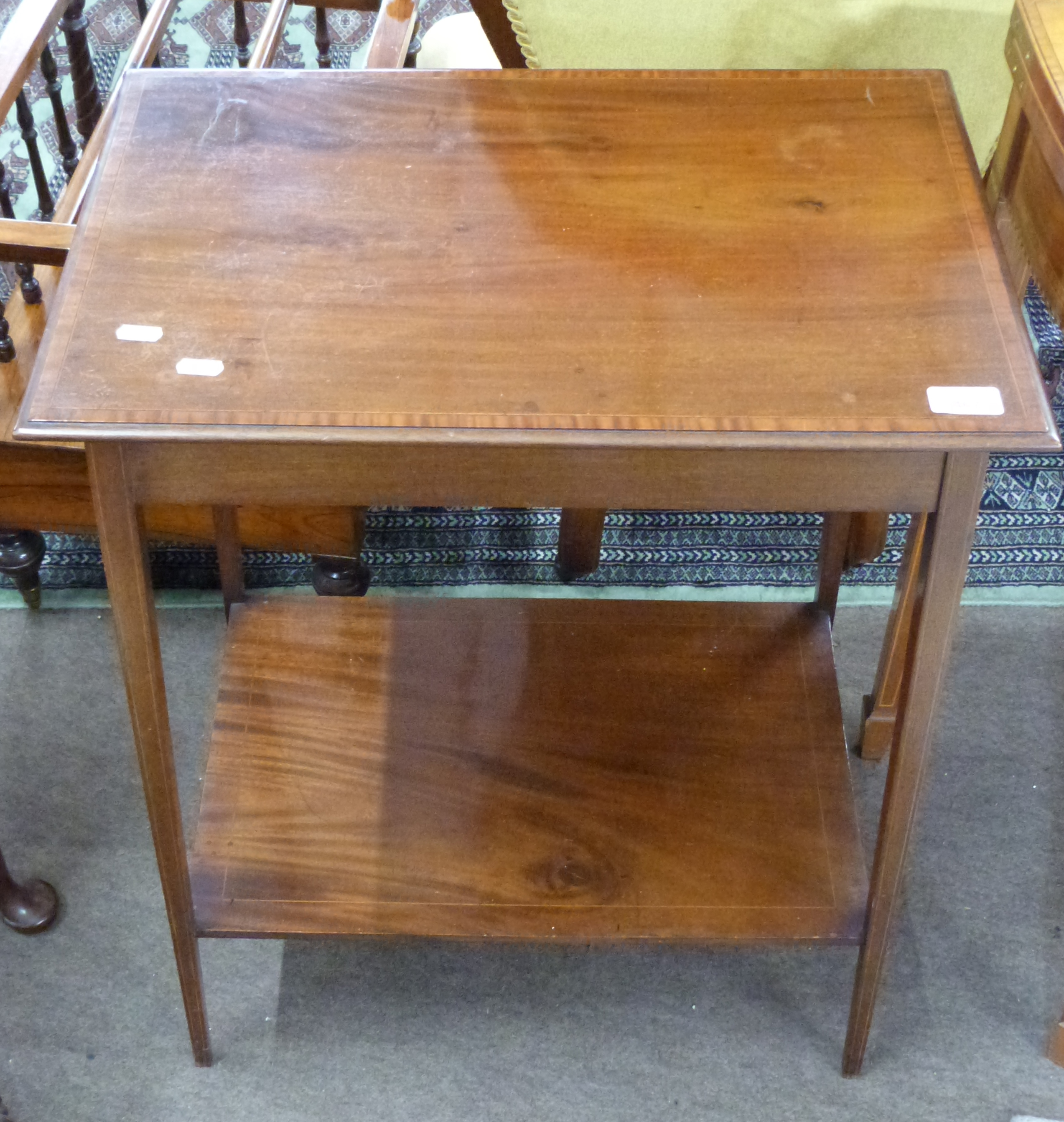 Small mahogany side table with strung and cross banded decoration, approx 56 x 37cm