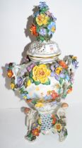 Large Continental porcelain vase with Meissen style floral decoration, the main body of the vase
