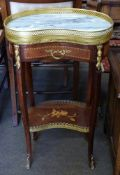 Small kidney shaped side table with drawer beneath and inlaid decoration, height approx 73cm