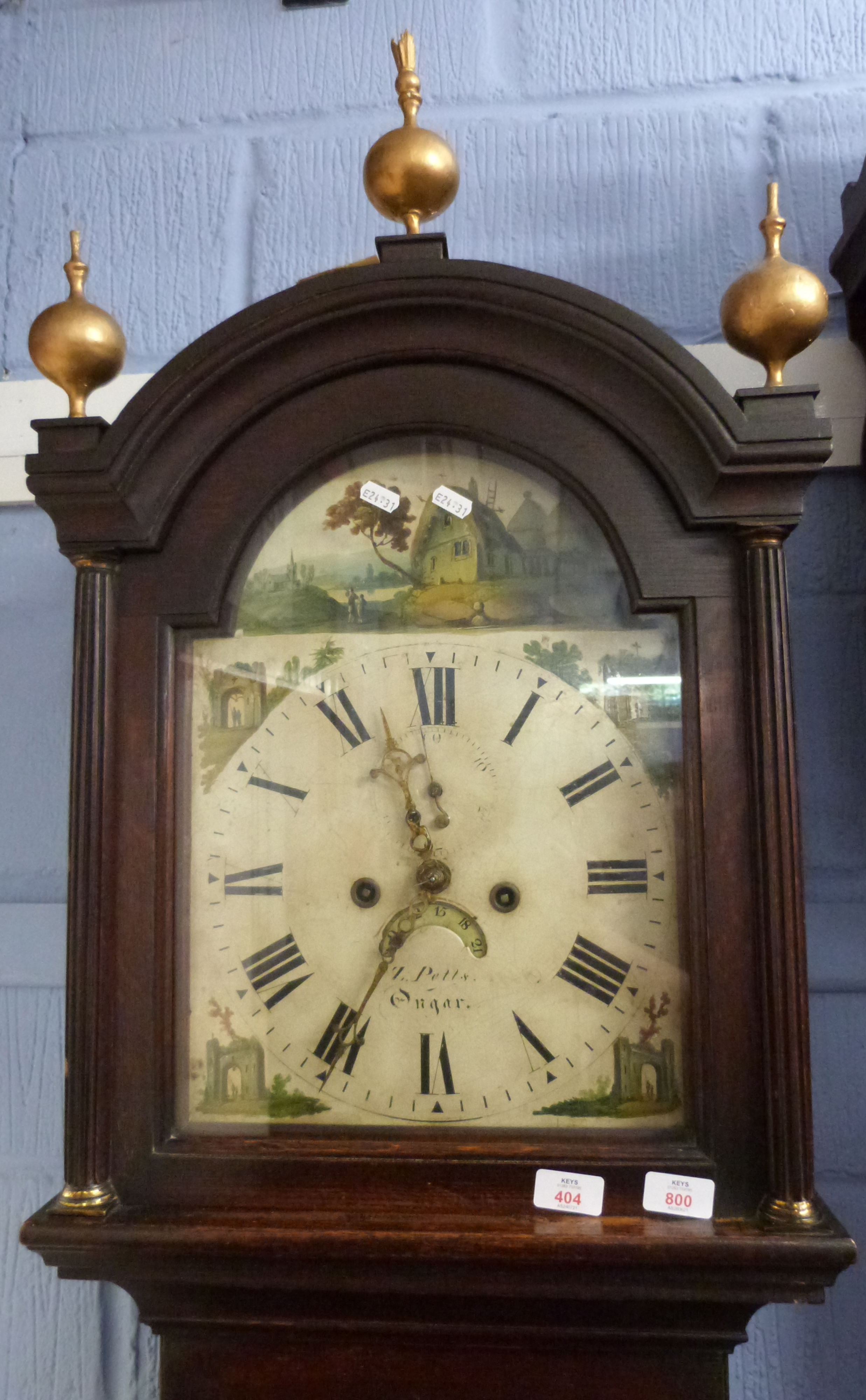 Oak longcase clock with hand painted face depicting various countryside scenes around Roman dial - Image 2 of 2