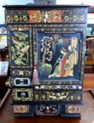 Mid-20th century Oriental style decorative table cabinet with painted scenes of Japanese figures,