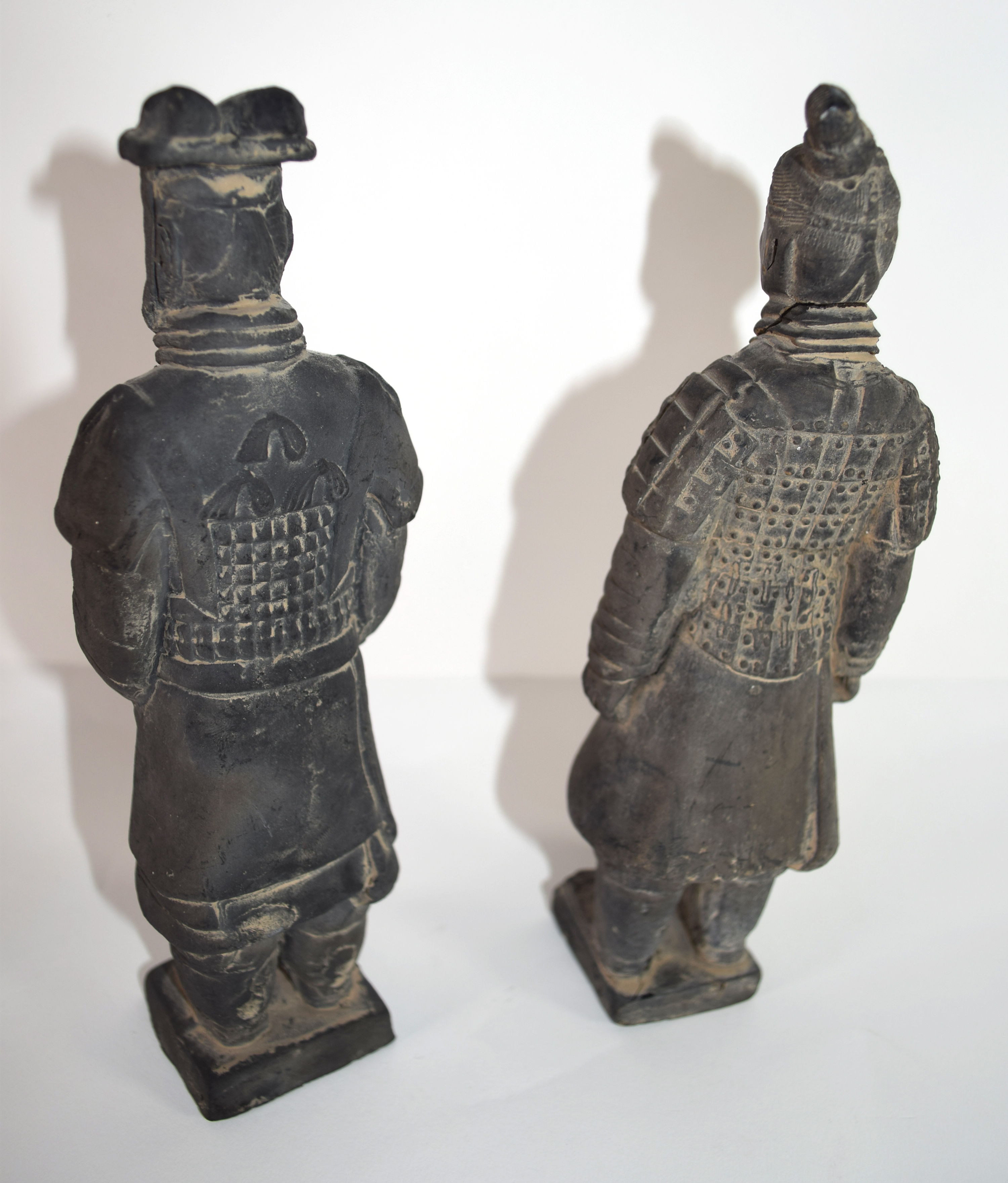 Two Chinese pottery figures, Han Dynasty type, of Chinese dignitaries on square bases with title - Image 2 of 2