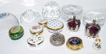 Quantity of glass paperweights including a Stuart Glass Millennium example, a commemorative Silver