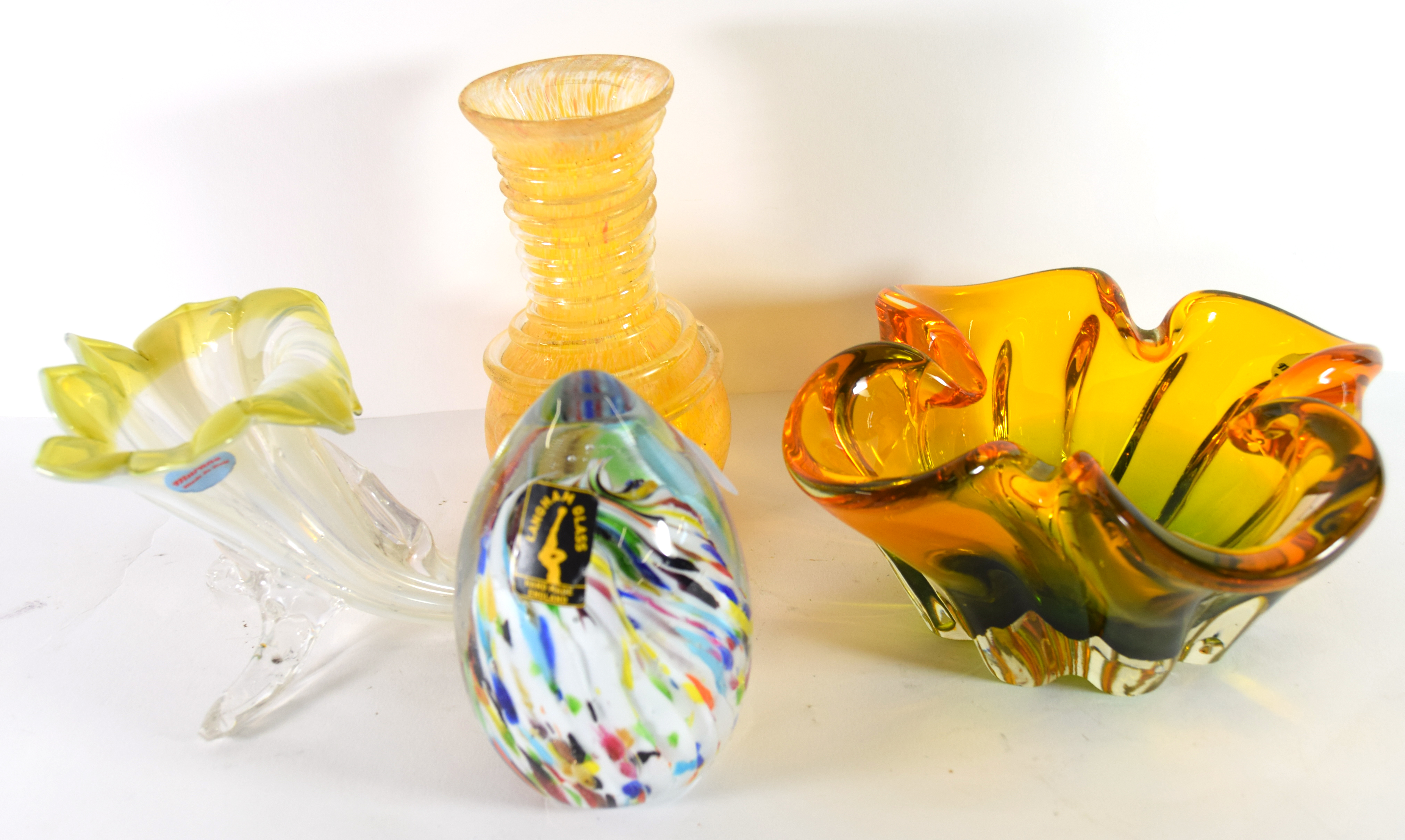 Group of Art glass including a Langham glass paperweight, shaped Murano bowl, a Murano cornucopia
