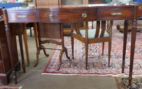 Mahogany side table with strung decoration, length approx 133cm max