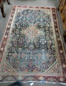 """Small Caucasian rug, blue and red ground, triple gulled border, 6ft 5"""" x 4"""", (faded/worn)"""