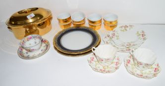 Quantity of gilt decorated Royal Worcester ramekins, serving dish and cover and two Paragon china