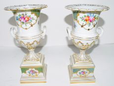 Pair of Continental porcelain vases decorated in Meissen style with floral sprays, 30cm high (2)
