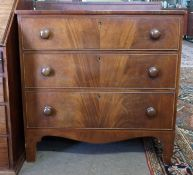19th century mahogany chest of drawers, width approx 89cm