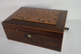 19th century ladies companion box with fitted and lined compartments with star and geometric inlay