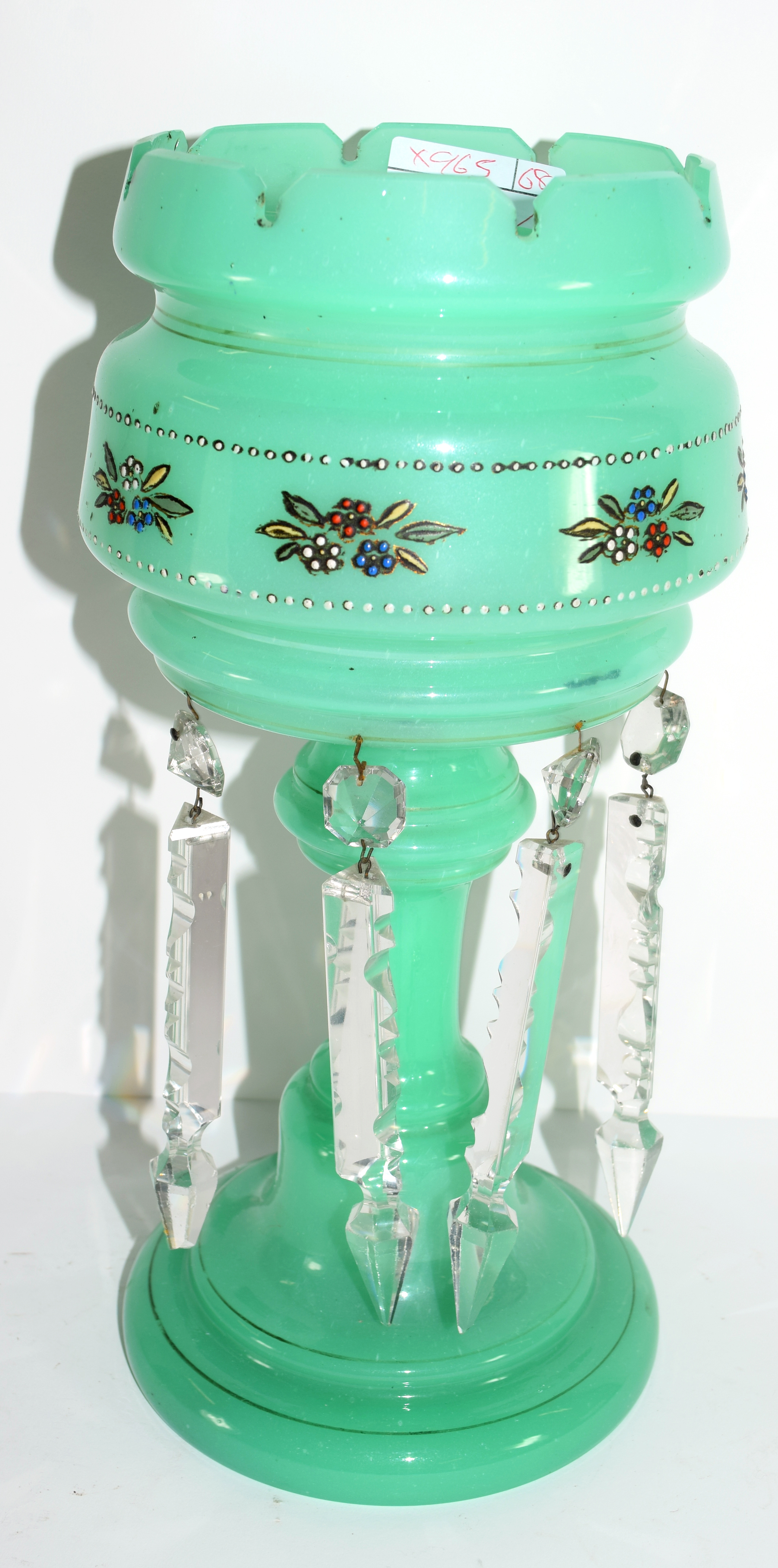 Victorian green coloured glass table lustre and droplets, 32cm high