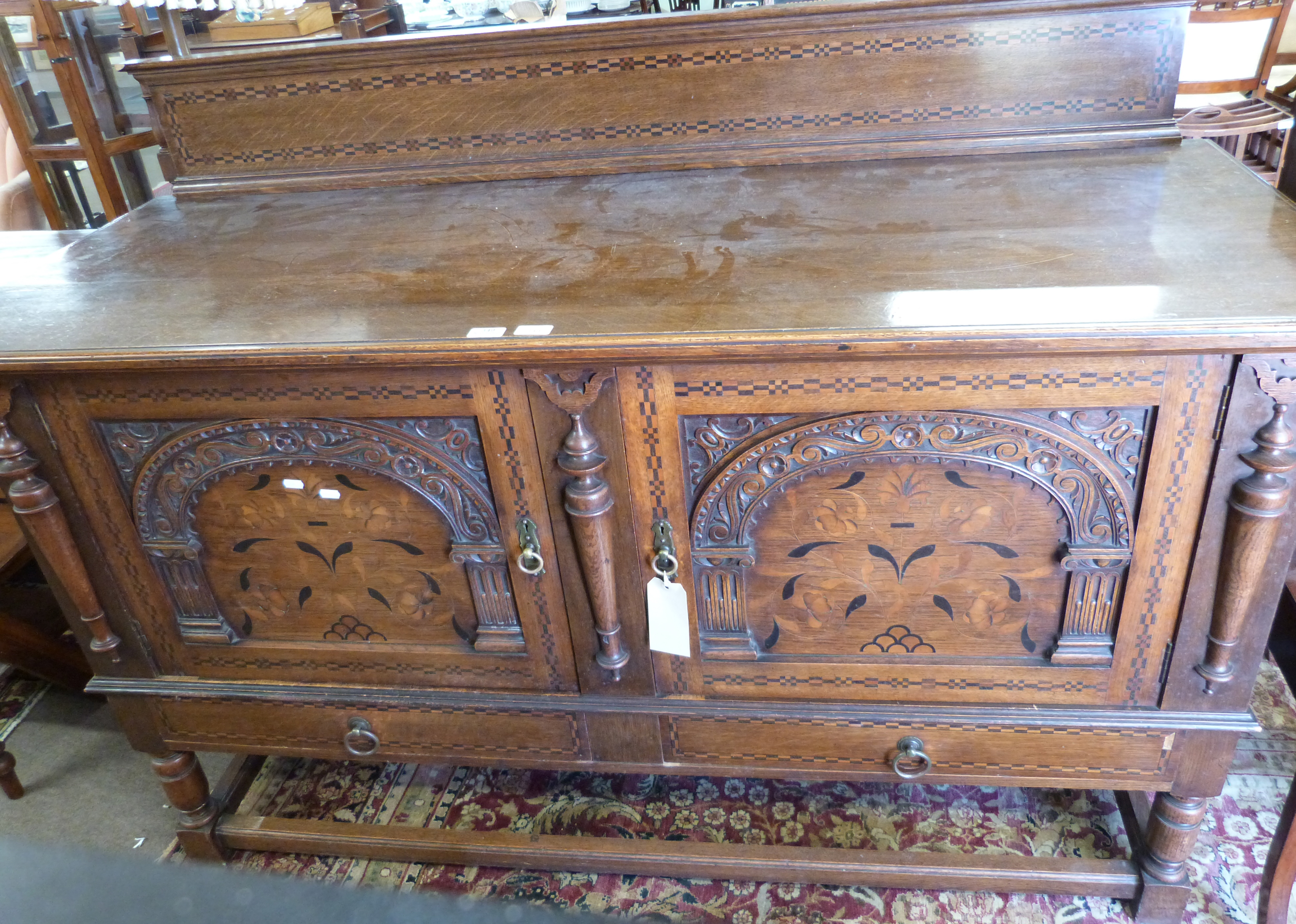 Good quality early 20th century oak sideboard in 17th century style having a chequered inlaid - Image 3 of 4