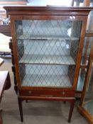 Mahogany glazed china cabinet, width approx 77cm