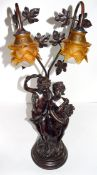 Reproduction Art Nouveau lamp with two cherubs and two glass Art Nouveau style lamps above, the