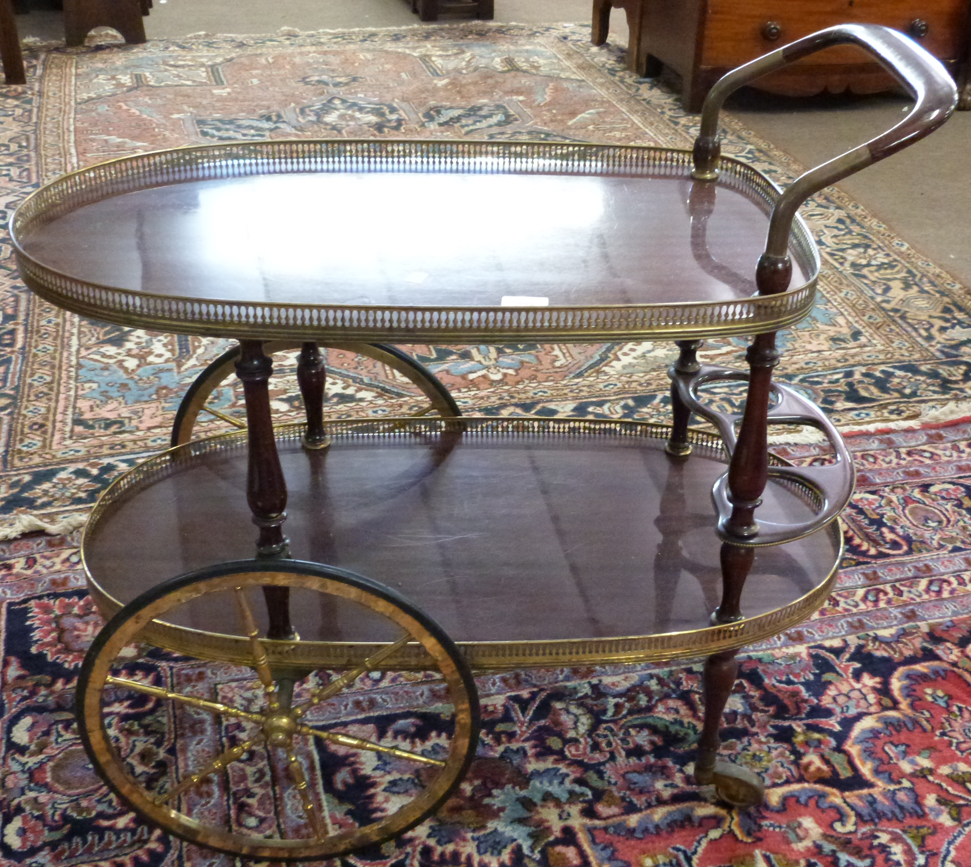 Mahogany effect and gilt decorative tea trolley, length approx 80cm - Image 2 of 3