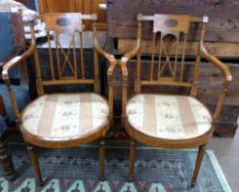 Pair of decorative inlaid bedroom chairs, width approx 58cm