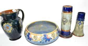 Group of Royal Doulton stonewares including a fruit bowl with tube lined floral decoration, jug with