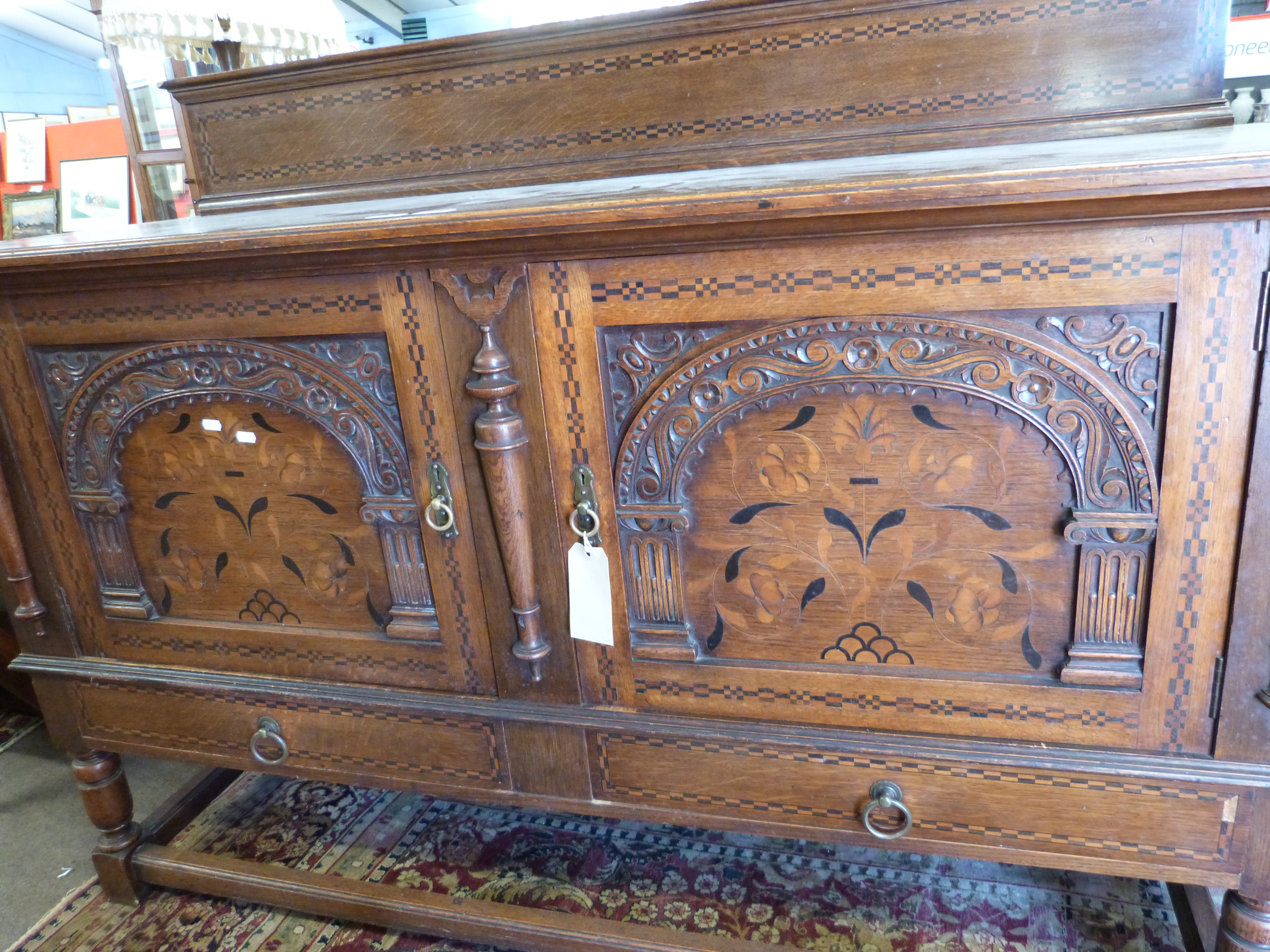 Good quality early 20th century oak sideboard in 17th century style having a chequered inlaid - Image 4 of 4