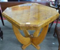Art Deco octagonal cruciform occasional Table, approx 69cm square