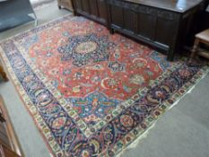 Mid-20th century Palestinian multi-coloured wool rug, circa 1945, red ground, single gulled