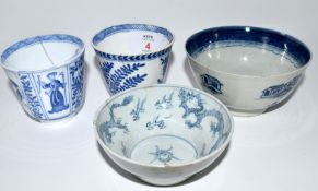 Group of blue and white porcelain including a small Chinese porcelain blue and white bowl, 18th