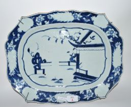 Chinese porcelain blue and white dish, 37cm long
