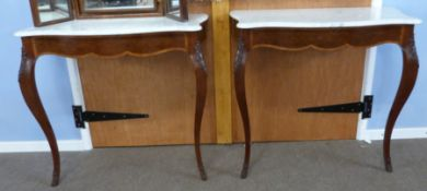 Pair of marble topped console tables with applied carved decoration, width approx 86cm max