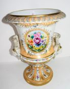 Very large Campana style vase decorated with floral sprays, the loop handles with moulded faces of