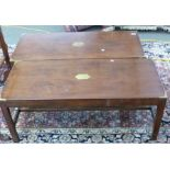 Pair of brass trimmed mahogany rectangular jointed tables, each approx 107 x 46cm