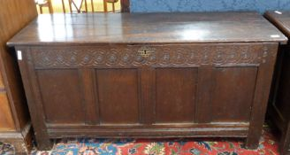 18th century carved oak coffer, length approx 135cm