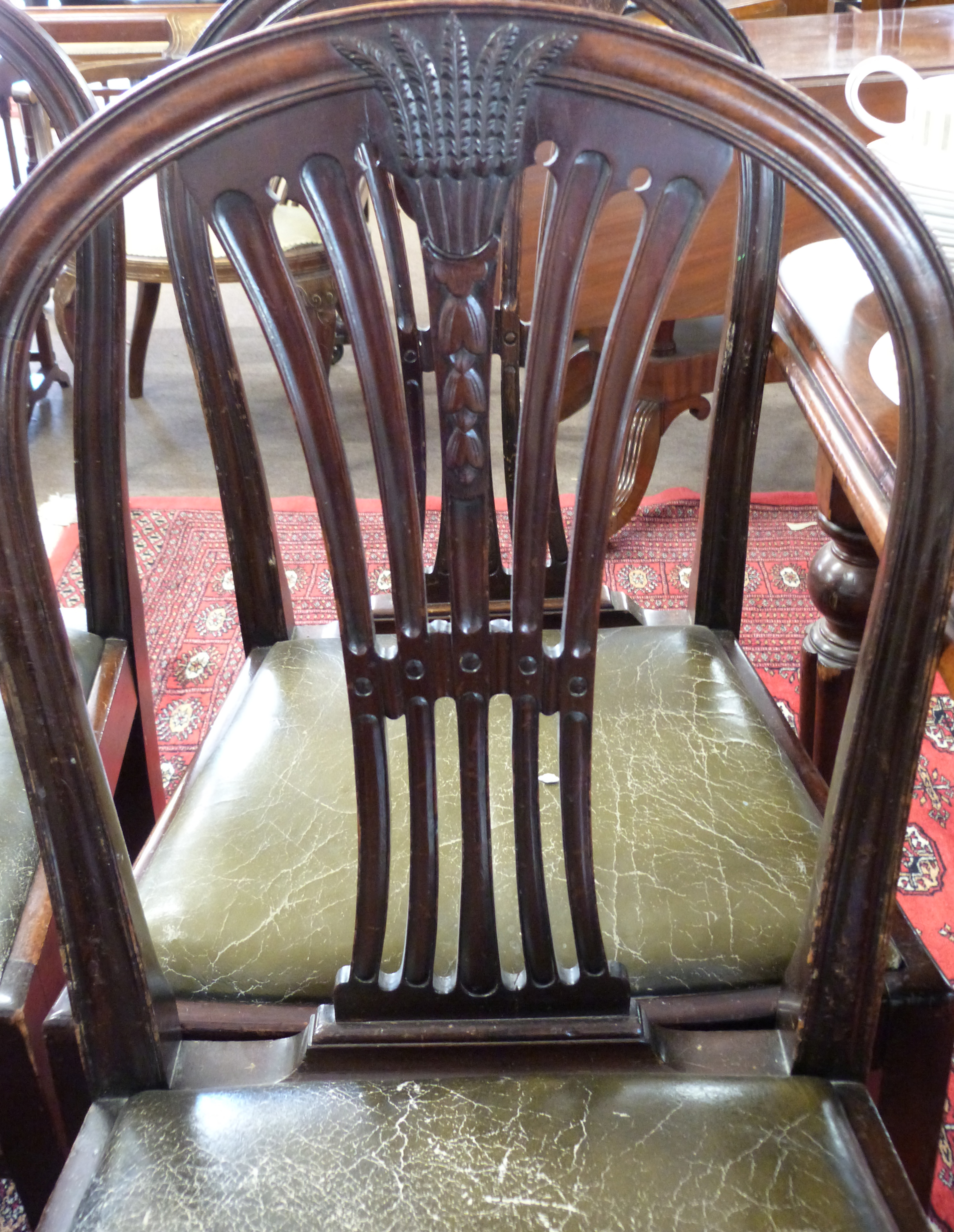Set of eight (6+2) leather upholstered dining chairs with carved decoration - Image 3 of 3