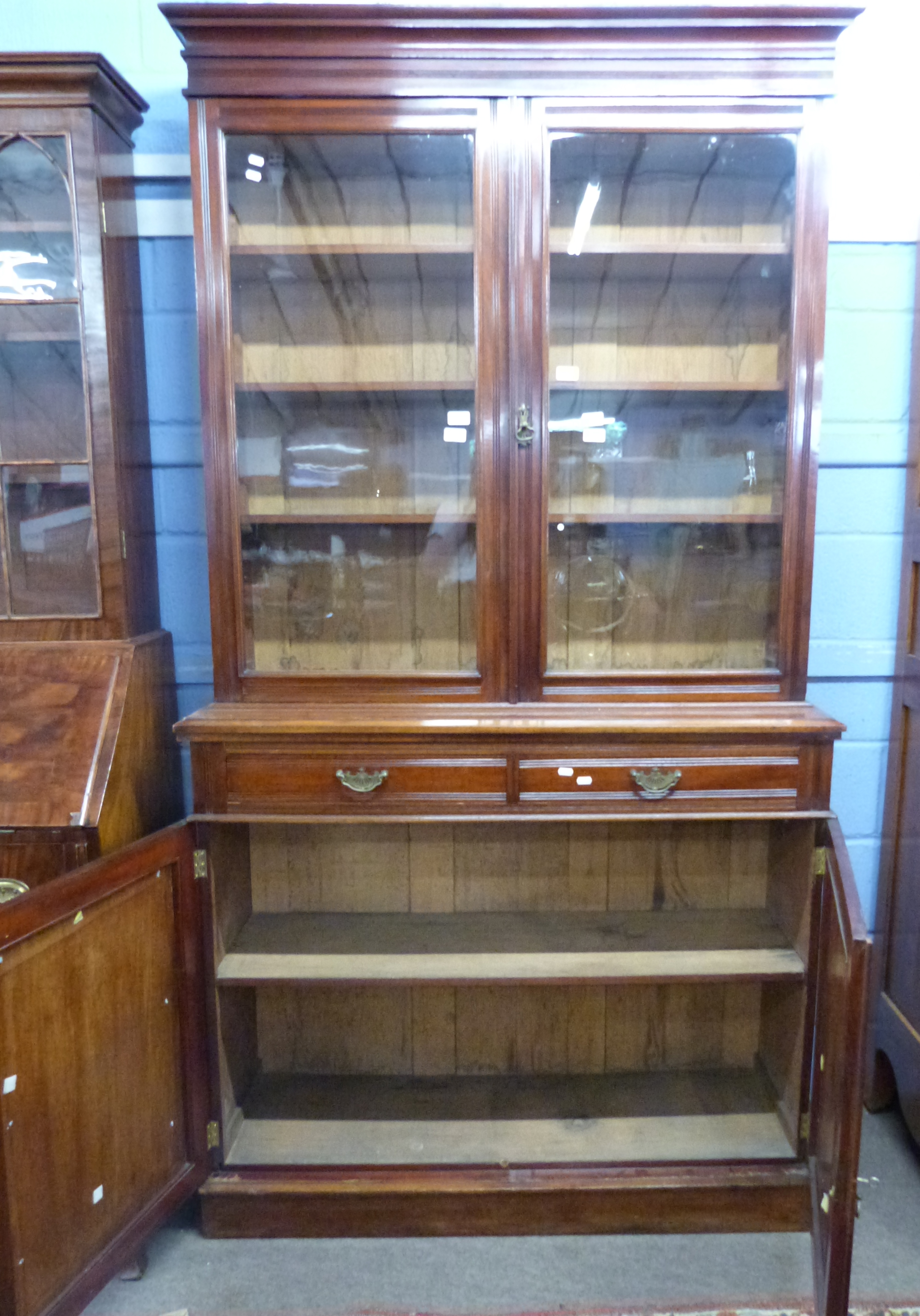 Full height mahogany side cabinet with glazed bookcase raised over double cupboard, width approx - Image 3 of 3
