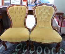 Pair of Victorian button back mahogany framed bedroom chairs