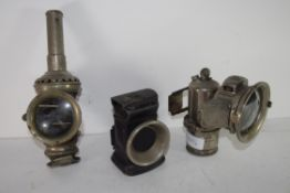 Group of three vintage cycle lamps
