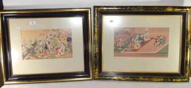 Two Japanese woodblock framed prints of figures in various pursuits in black wooden frames, the