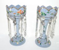 Pair of Victorian blue coloured glass lustres decorated with painted flowers, 30cm high (2)
