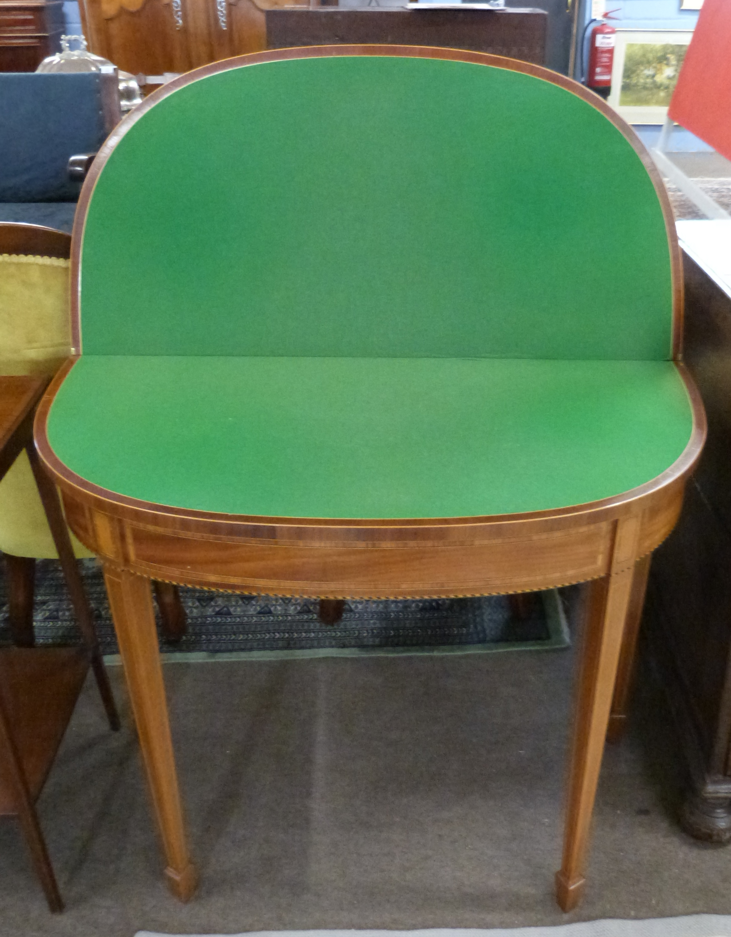 Fold-top card table with inlaid and cross banded decoration, width approx 91cm - Image 2 of 2