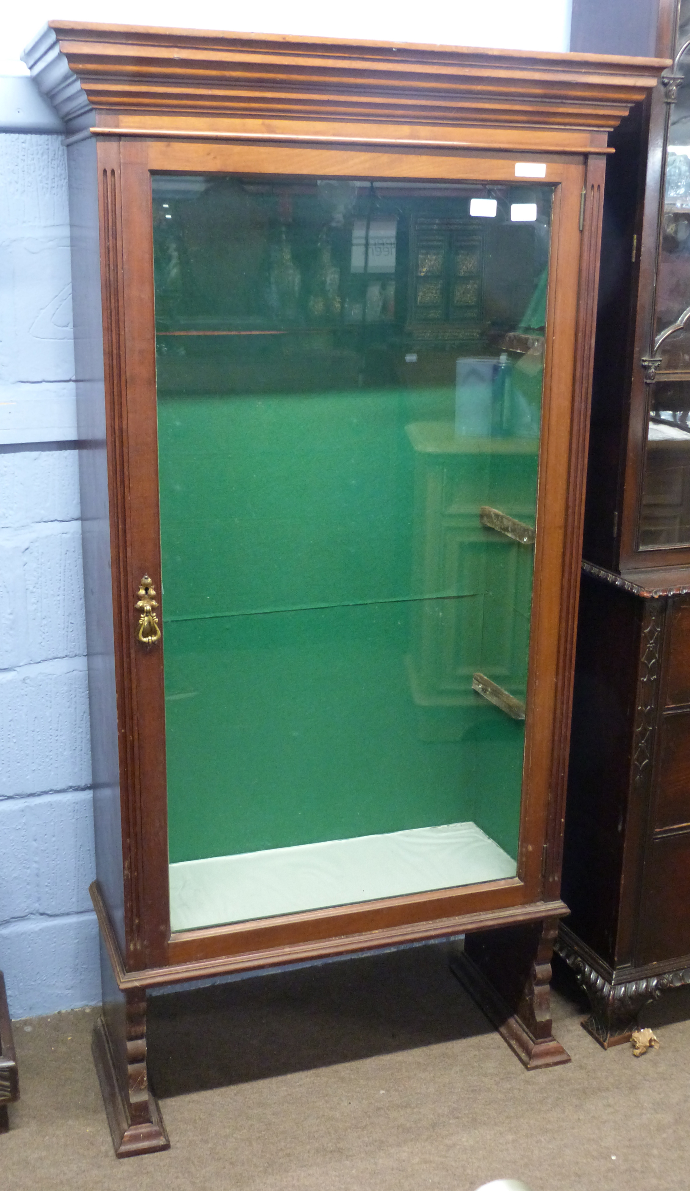Early 20th century mahogany glazed display cabinet, width approx 83cm