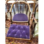 Edwardian upholstered armchair together with matching button upholstered foot stool