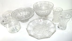 Miscellaneous lot of crystal glass including two Waterford vases, small Waterford dish, a Baccarat
