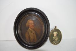 Watercolour of a lady, in gilt frame, together with a figure of a gentleman in oval wooden frame (