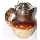 Mid-19th century pottery jug with greyhound handle, silver mounts and cover, assay marks for