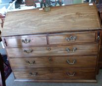 19th century fall front bureau with fitted interior, width approx 115cm