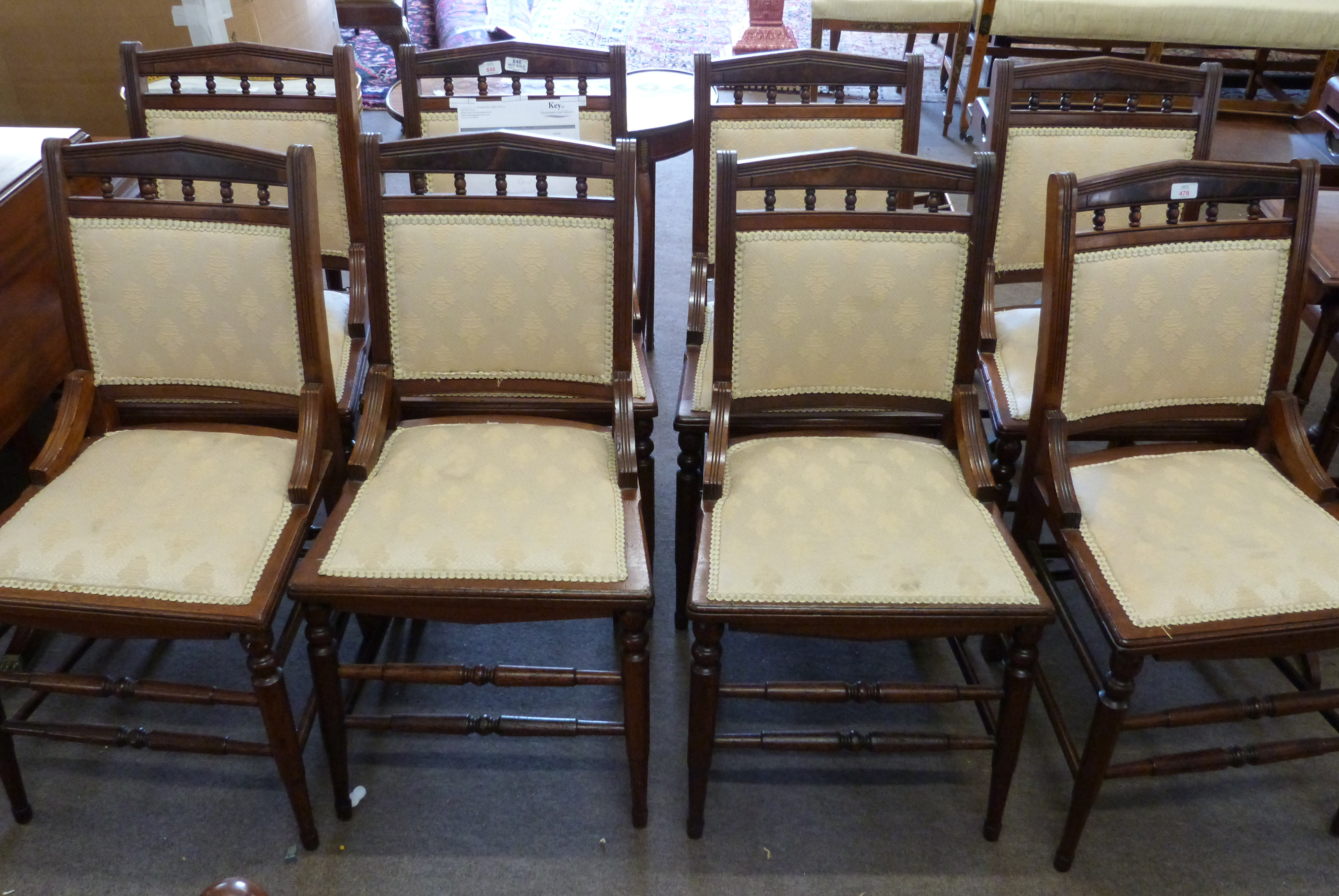 Set of eight upholstered 19th century dining chairs with ring turned legs