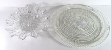 Two large glass dishes, one with neo-classical design, largest 35cm diam (2)
