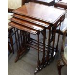 Nest of four inlaid mahogany tables, the largest approx 56 x 38cm