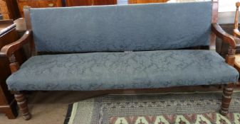 19th century upholstered settle, length approx 182cm